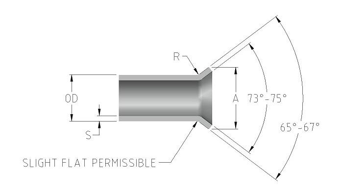 TUBE FLARE DIMENSIONS-Model