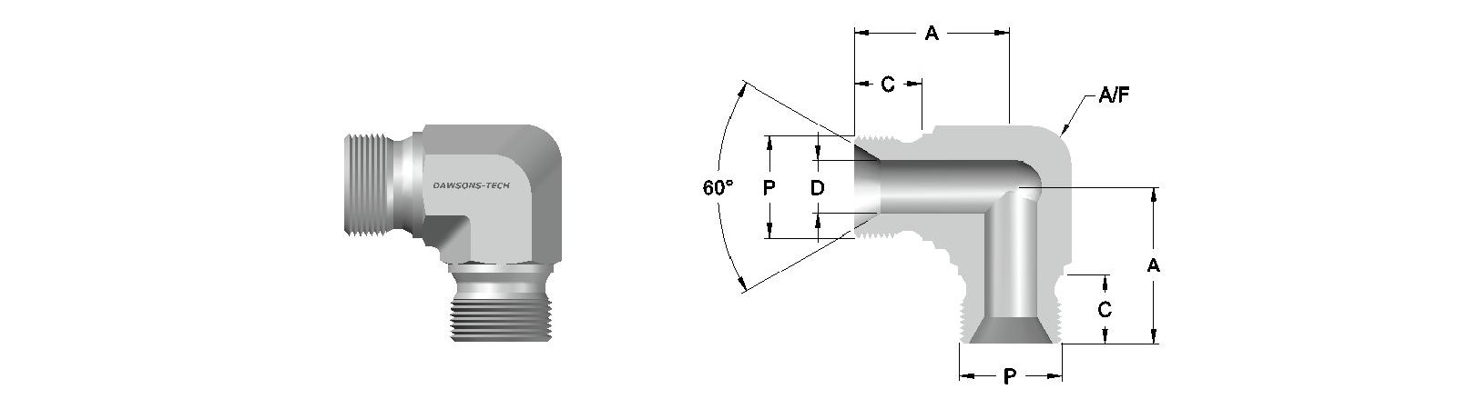 01 Male Union Elbow BSP (Parallel) Thread-Model
