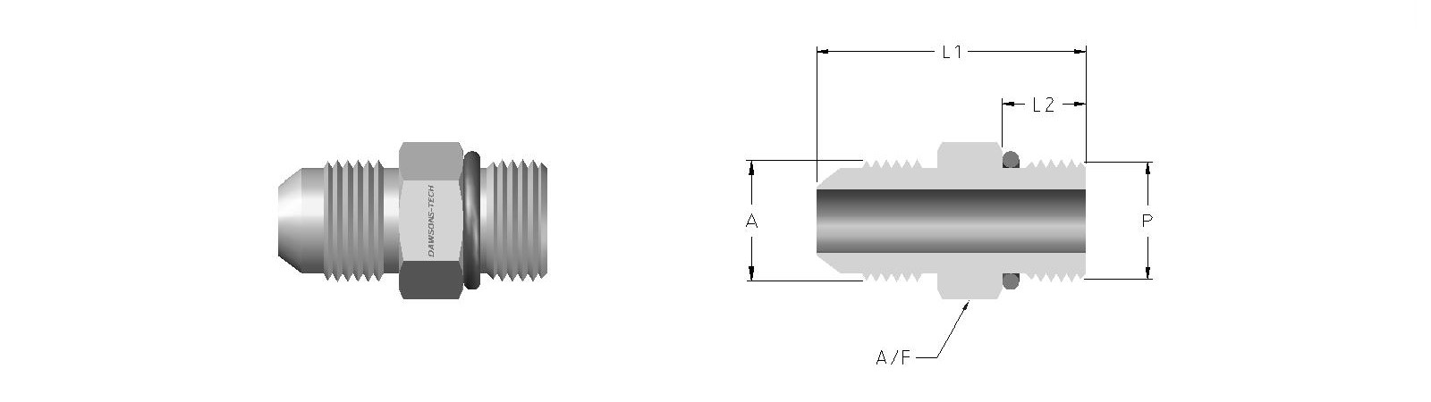 02 Male Connector (37 Flare to SAE-MS Straight Thread)