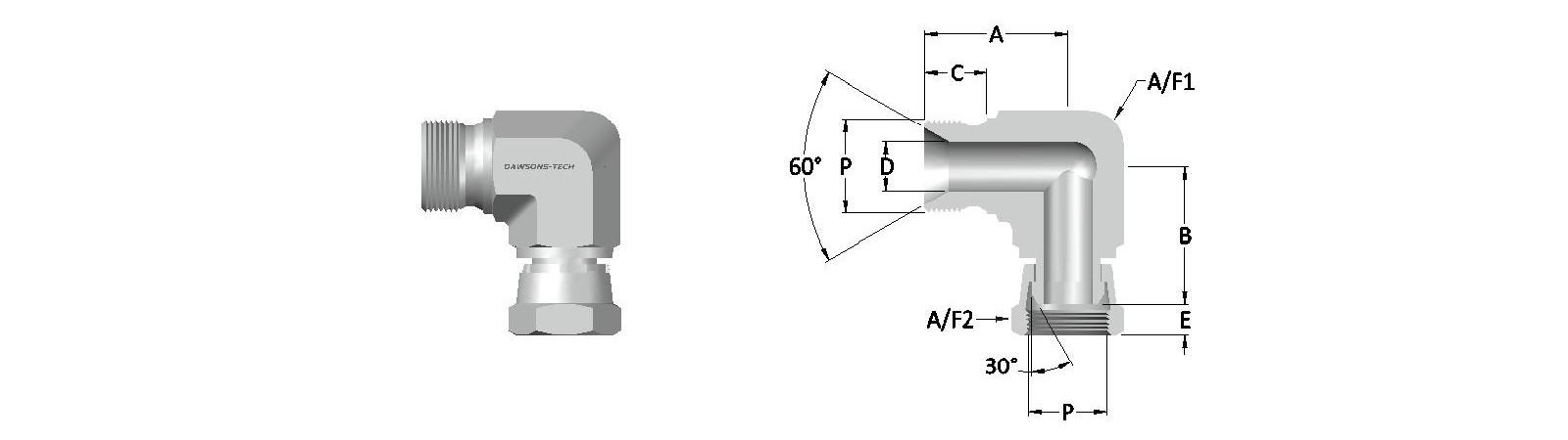 03 Male - Swivel Female Elbow BSP (Parallel) Thread-Model