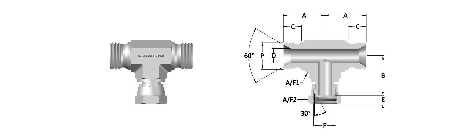05 Male - Swivel Female Branch Tee BSP (Parallel) Thread-Model