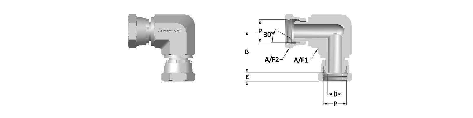 06 Female Swivel Union Elbow BSP (Parallel) Thread-Model