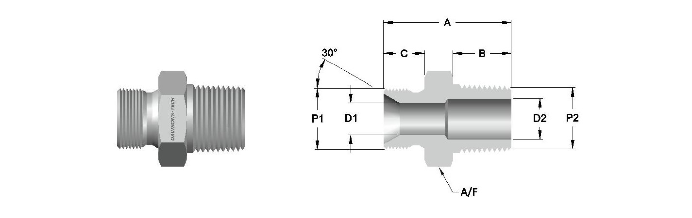 16 Male Adapter BSP (Parallel) to NPT Thread-Model